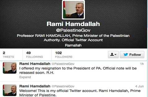 The Twitter Account Lifespan of the latest Prime Minister of the Palestinian Authority, Rami Hamdallah