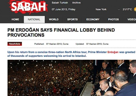 Headline from one of Turkey's largest newspapers.