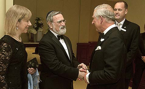 The Prince of Wales with Lord Sacks, Chief Rabbi of the United Hebrew Congregations of the Commonwealth.