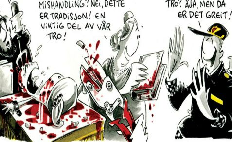 The Norwegian daily Dagbladet not only defends its blood libel caricature of circumcision, it also equates the angry Jewish response as being like Muslim violence in response to anti-Mohammed cartoons.