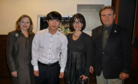 Shin Dong-hyuk, secnd from left, at the Simon Wiesenthal Center's Museum of Tolerance in Los Angeles during a screening of a film about North Korea, 2009.