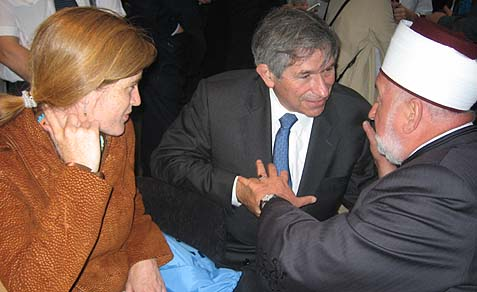 Samantha Power with Paul Wolfowitz and Dr. Mustafa ef. Cerić President of the World Bosniak Congress.