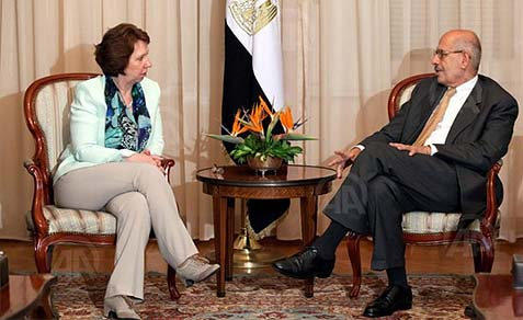 Catherine Ashton meeting with interim Egyptian president Adly Mansour on Wednesday.