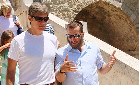 Dr Mehmet Oz and Rabbi Shmuley Boteach strolling in Hebron.