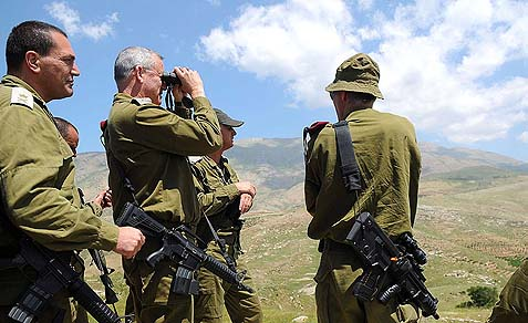 IDF Chief of Staff Lieut. Gen. Benny Gantz watching across the Syrian border, in northern Israel. Events in Syria and in Egypt have greatly improved Israel's security situation.