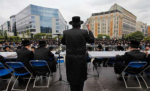 A Haredi rally outside the EU headquarters to protest the new bill imposing IDF recruitment on Haredi men some 3000 miles away, was nevertheless run in impeccable, dare we say military order.