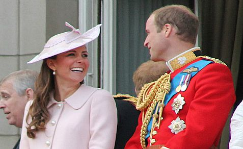 The Duke and Duchess of Cambridge on the balcony of Buckingham Palace in June