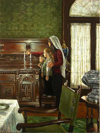 Friday Night Candles; oil on canvas by Harry McCormick. Courtesy Chassidic Art Institute.