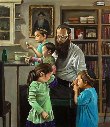 Rabbi Lieberow and Family; oil on canvas by Harry McCormick. Courtesy Chassidic Art Institute