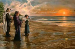 Sunrise Ceremony on the Beach; oil on canvas by Harry McCormick. Courtesy Chassidic Art Institute.