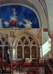 Yochanan ben Zacchai Synagogue; oil on canvas by Harry McCormick. Courtesy Chassidic Art Institute.