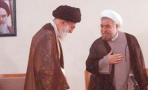 Leader of the Islamic Revolution Ayatollah Seyyed Ali Khamenei (L) and Iranian president-elect Hassan Rohani.