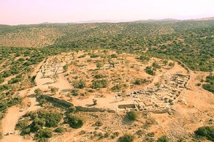 Aerial photograph of Khirbet Qeiyafa at the end of the 2011 excavation season. Photo credit: Institute of Archeology, Hebrew University.