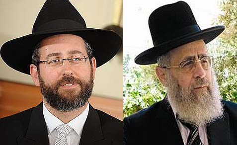 Two rabbis for two Jewish communities: Israel's new chief rabbis,  Sephardi Rabbi Yitzchak Yosef (R) and Ashkenazi Rabbi David Lau.