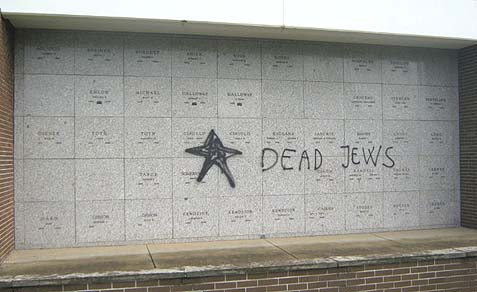 Antisemitic comments spray painted on a mausoleum at Hillside Memorial Park in Springfield Township, Ohio.