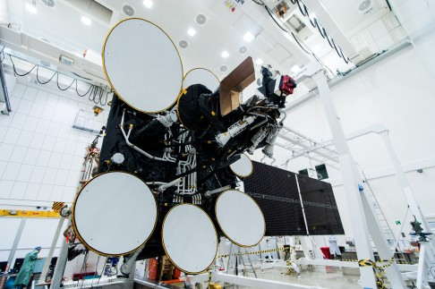 AMOS-4 Upper Antennas and Solar panel deployed
