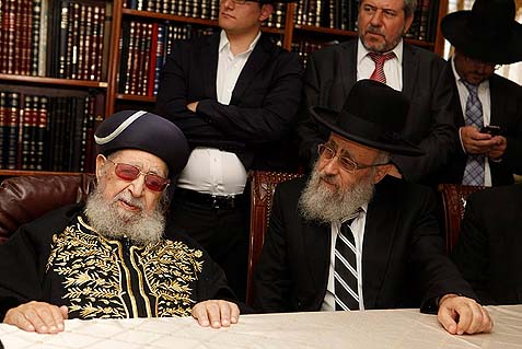 Rav Ovadia Yosef (L) seen with his son, newly elected Sephardi Chief Rabbi Yitzhak Yosef.