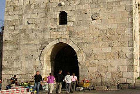 Herod's Gate, also known as Flower's Gate, n the Old City of Jerusalem, where Arabs attacked two Jewish homes Tuesday night