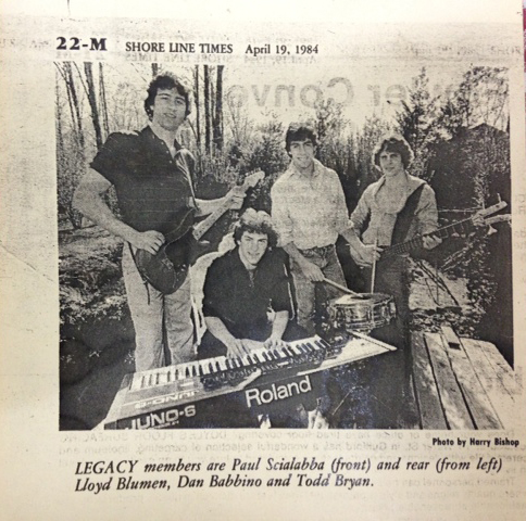 "Eliezer (Lazer) Lloyd Blumen with his high school band ""Legacy"" in 1984."