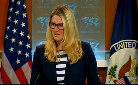 Asst State Dept Spokesman Marie Harf tells press corps on Aug. 1 of embassy closures on Sunday, Aug. 4
