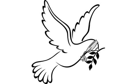 Peace-dove blindfolded