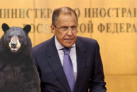 Russia's Foreign Minister Sergey Lavrov (with a friend).
