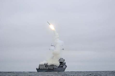 A Tomahawk cruise missile begins its tip-over phase of flight after being launched from the guided missile destroyer USS Sterett while underway. Analysts expect the attack on Syria to consist, at least initially, of these cruise missiles launched from U.S. and allied submarines, ships and possibly planes.