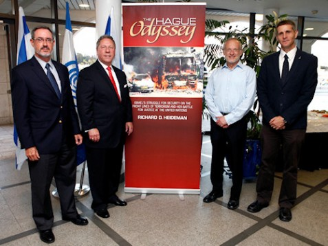 (From Left to Right) Alan Schneider - Executive Director B'nai Brith World Center, Richard D. Heideman - International Attorney and author of The Hague Odyssey, Dean Yuval Shany - Hebrew University Faculty of Law, and Marc Belzberg - Founder and Chairman of One Family Fund.