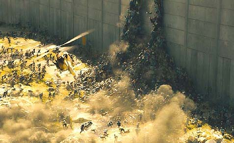 "The Zombies are rushing the security wall in ""World War Z."""