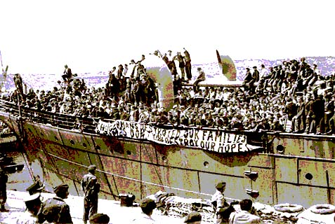 "An illegal-aliyah boat, packed with Jews escaping post-Holocaust Europe, being taken into Haifa Harbor by the British. ""The Holy One, blessed be He, will set up a king over them, whose decrees shall be as cruel as Haman's, whereby Israel shall engage in Tshuva-return"" to the land."