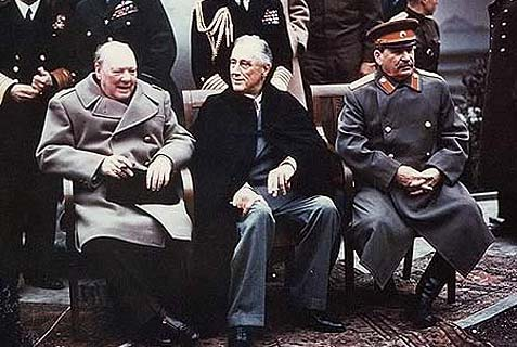 Churchill, FDR, and Stalin at Yalta.