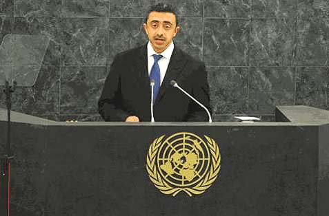 Fireign Minister Abdullah Bin Zayed urged a just settlement of the dispute over Iran's 40-year occupation of his country's lands.