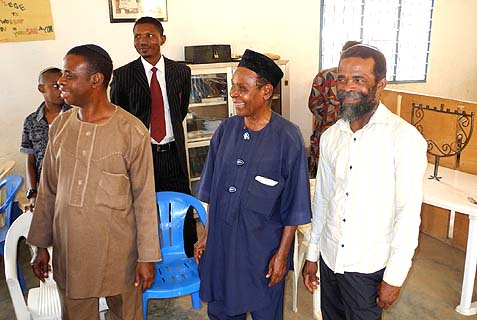 Elder Peter Agbai (in center, with cap), leader of Gihon Synagogue, and Elder Habakkuk Nwafor (to his right) at a gathering welcoming the author to Abuja.
