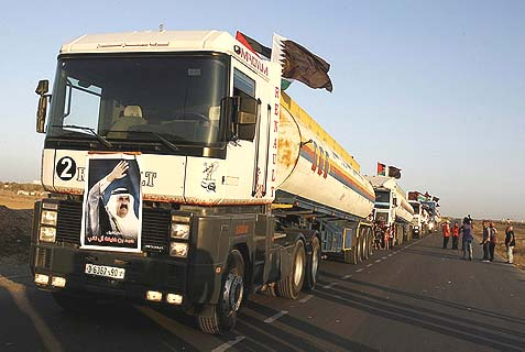 A trucks carrying the first shipment of fuel from Qatar arrives in the Gaza Strip in June, 2012.