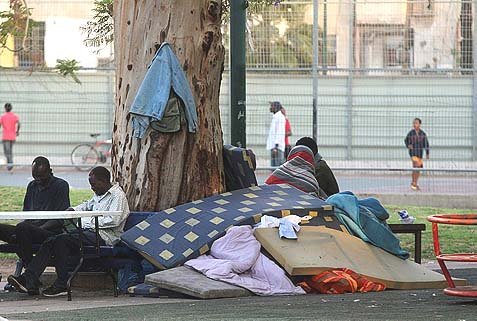 Illegal migrant workers from Africa in their new home in Levinski Park, southern Tel-Aviv. While Israel is deeply conflicted about evicting illegals, Saudi Arabia has a more effective approach.