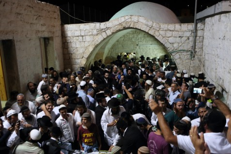 Hundreds of Jew praying at Joseph's Tomb in Shechem on June 10, 2013.