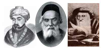 (L-R) The Rambam, The Chofetz Chaim, Rashi.