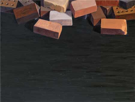 Bricks (2013), [36 x 48] oil on linen by Ron Milewicz. Courtesy Elizabeth Harris Gallery.
