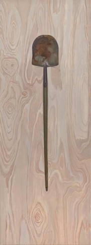 Shovel (2013), [80 x 30] oil on linen by Ron Milewicz. Courtesy Elizabeth Harris Gallery.