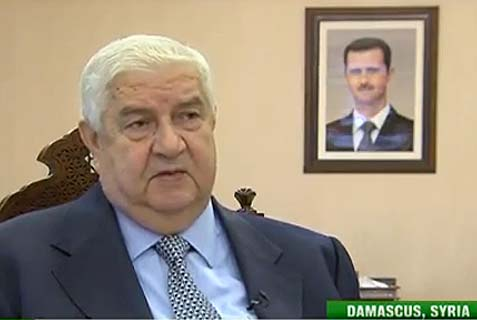 Syrian Foreign Minister Walid Muallem says 'terrorists' in Syria have carried out the country's equivalent of 9/11