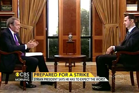 Assad tells Charlie Rose that his 'friends' or rebels might use chemical weapons on the US and Israel if Obama attacks.