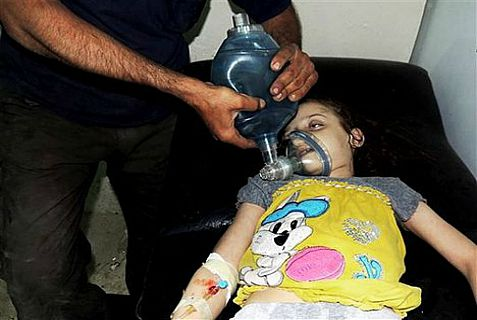 Girl being treated at a field hospital in Arbeen, Syria after last month's chemical weapons attack