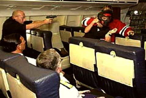 "We're waiting for the next 9/11 to happen, because it's not a question of if. It's a question of when."" Above: Mock kidnapping onboard attack"