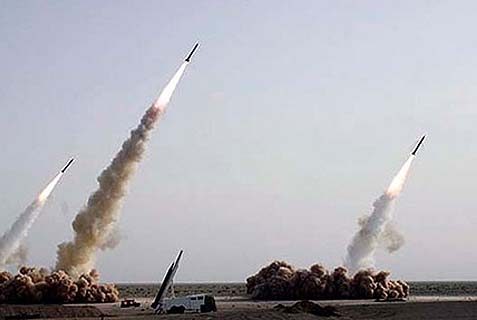 Iran conducts test launches of its long-range Shahab-3 missiles, in 2008.