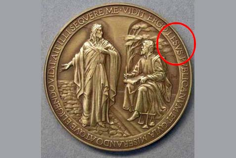 A commemorative medal of the first year of the pontificate of Pope Francis containing a spelling mistake not more for sale