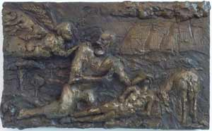 The Binding of Isaac (2007) 12 x 19, bronze relief by Lynda Caspe.  Courtesy Derfner Judaica Museum – Hebrew Home at Riverdale.