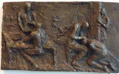 The Story of Jacob and Esau (2010) 11 x 19, bronze relief by Lynda Caspe. Courtesy Derfner Judaica Museum – Hebrew Home at Riverdale