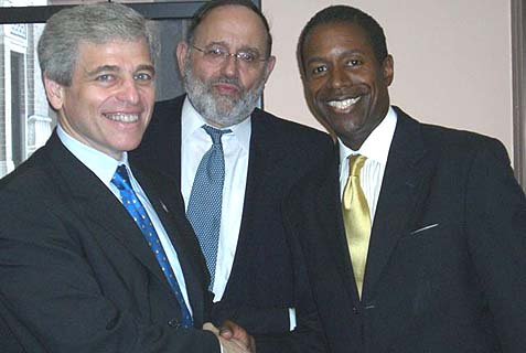 (L-R): William E. Rapfogel, Rabbi David Cohen, and Senator Malcolm Smith.