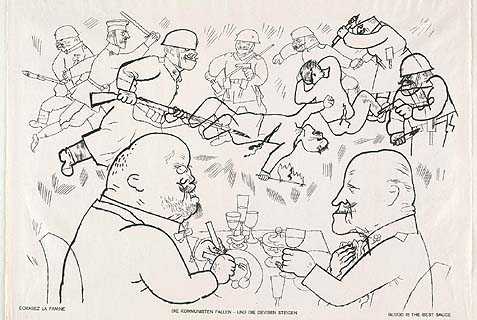 "A nightmarish vision titled ""Blood Is The Best Sauce,"" from the Portfolio ""God with Us"" by German artist George Grosz."
