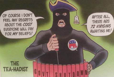 On Friday, October 11, the Los Angeles Jewish Journal ran the above cartoon, comparing the Tea Party to Islamic jihadists. It's not only a violation of good taste, and, much worse, originality. It also depicts a complete failure to recognize a true Capitalistic revolution.